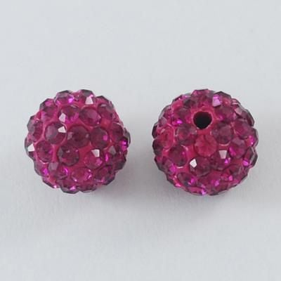 1 Disco Ball Beads, Polymer Clay Rhinestone Beads, Round, Fuchsia, 8mm, Hol