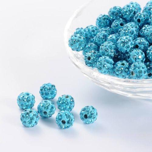 1 Pave Disco Ball Beads, Polymer Clay Rhinestone Beads, Round, Aquamarine,