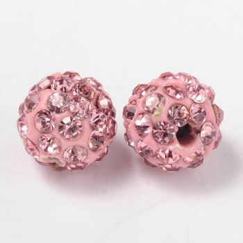 1 Pave Disco Ball Beads, Polymer Clay Rhinestone Beads, Round, Light Rose, 8mm, Hole: 1mm