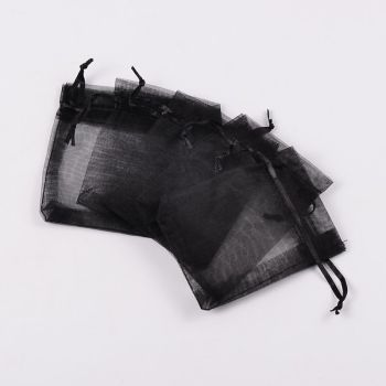 Organza Bags, Black, 7x5 cm