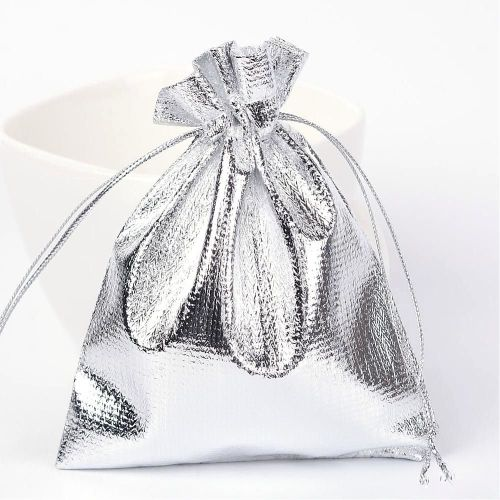 1 Rectangle Organza Bags, Silver, 12x10cm