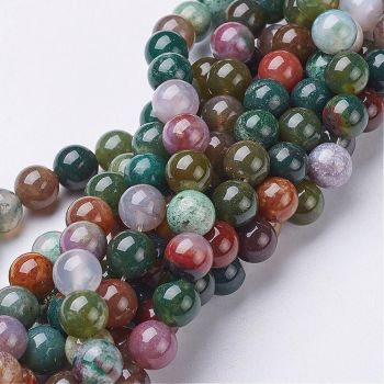 1 Beads Strand Natural Indian Agate, Round, about 8mm in diameter, hole: about 1mm 15-16 inches in length