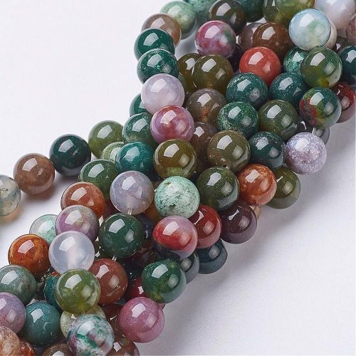 1 Beads Strand Natural Indian Agate, Round, about 8mm in diameter, hole: ab