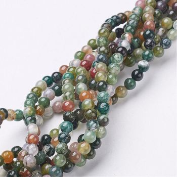 """1 Gemstone Beads Strand, Natural Indian Agate, Round, about 4mm diameter, hole: about 0.8mm, 15~16"""""""