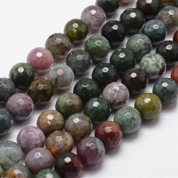 1  Natural Indian Agate Bead, Faceted, Round, 6mm, Hole: 1mm;