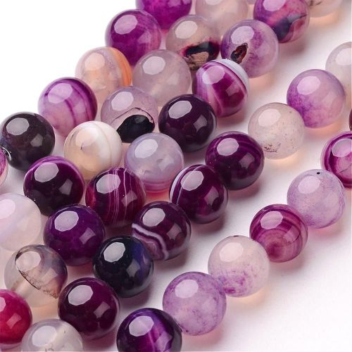 1 Natural Striped Agate Bead Round, Dyed & Heated, Purple, 10mm, Hole: 1mm