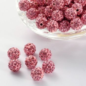 1 Pave Disco Ball Beads, Polymer Clay Rhinestone Beads, Round, Light Rose, 10mm, Hole: 2mm