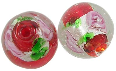 1 Handmade Silver Foil Glass Beads, Inner Flower, Round, Red, about 12mm in