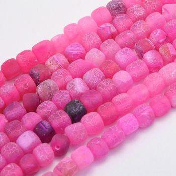1 Natural Agate Bead Dyed & Heated, Cube, DeepPink, 7~9x6.5~8x6.5~8mm, Hole: 1mm;
