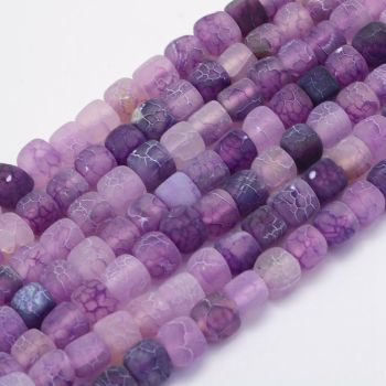1 Natural Agate Bead, Dyed & Heated, Cube, BlueViolet, 7~9x6.5~8x6.5~8mm, Hole: 1mm
