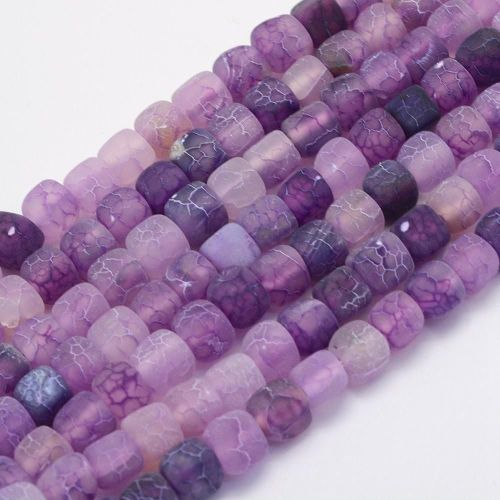 1 Natural Agate Bead, Dyed & Heated, Cube, BlueViolet, 7~9x6.5~8x6.5~8mm, H