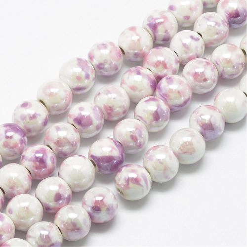 1 Handmade Porcelain Beads, Fancy Antique Glazed Style, Round, Plum, 6mm, H