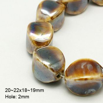1 Handmade Porcelain Beads, Pearlized, Oval, Goldenrod, 20~22x18~19mm, Hole: 2mm