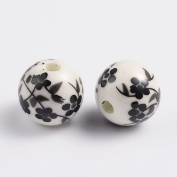 1 Handmade Printed Porcelain Beads, Round, Black, 12mm, Hole: 2mm