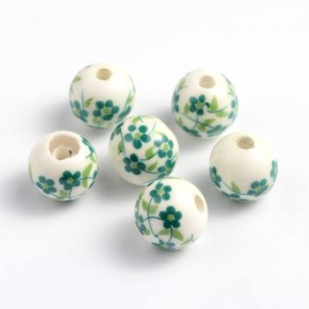 1 Handmade Printed Porcelain Beads, Round, Sea Green, 12mm, Hole: 2mm
