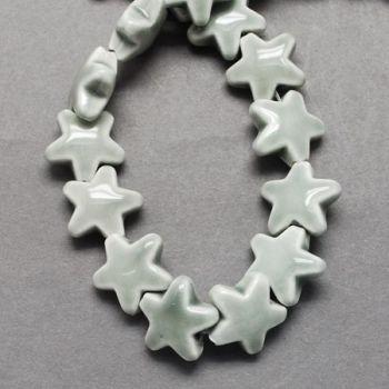 1 Handmade Porcelain Beads, Bright Glazed Porcelain, Star, LightGrey, 14x15x8mm, Hole: 2mm