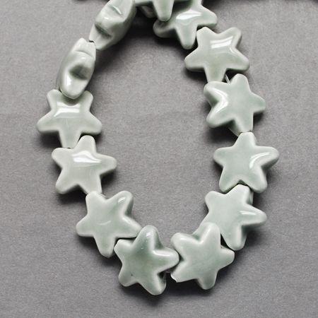 1 Handmade Porcelain Beads, Bright Glazed Porcelain, Star, LightGrey, 14x15