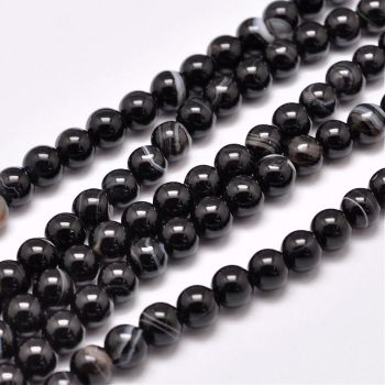 1 Natural Striped Agate Bead Strands, Dyed & Heated, Round, Black, 4mm, Hole: 0.5mm; about 93pcs/strand
