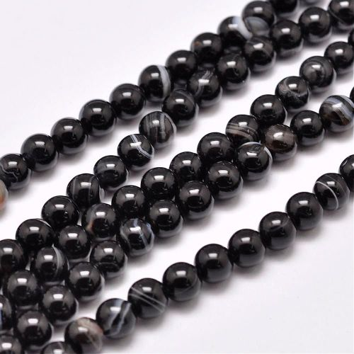 1 Natural Striped Agate Bead Strands, Dyed & Heated, Round, Black, 4mm, Hol
