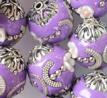 1 Handmade Indonesia Bead, Abacus, DarkOrchid, Size: about 18mm in diameter, 20mm thick, hole: 2mm