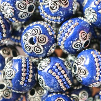 1 Handmade Indonesia Beads, with Alloy Cores, Round, Antique Silver, PrussianBlue, 14x14x14mm, Hole: 1mm