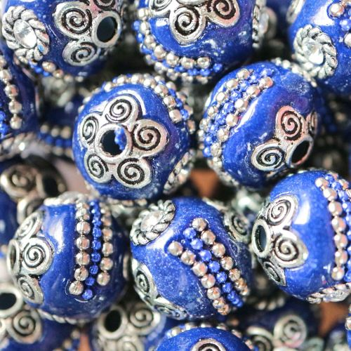 1 Handmade Indonesia Beads, with Alloy Cores, Round, Antique Silver, Prussi