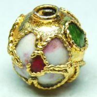 1 Handmade Cloisonne Beads Round Gold