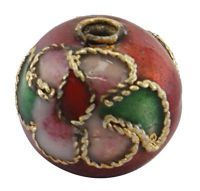 1 Handmade Cloisonne Beads Round Brownish