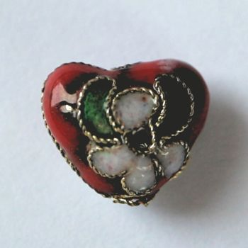 Cloisonne Heart Bead - Red