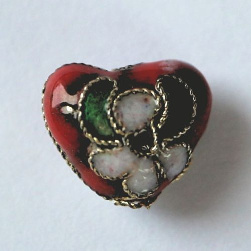 1 Handmade Cloisonne Beads Heart Red