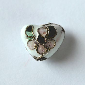 Cloisonne Heart Bead - White