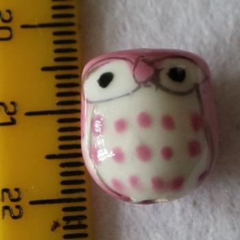 1 Pink Porcelain Owl