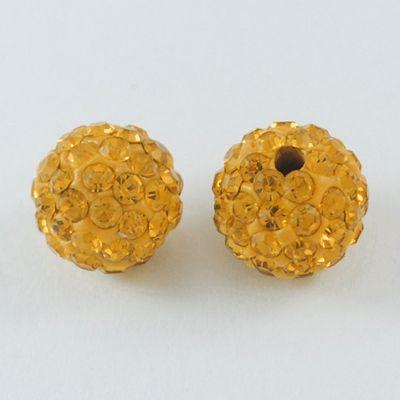 1 Pave Disco Ball Beads, Polymer Clay Rhinestone Beads, Round, Topaz, 8mm,