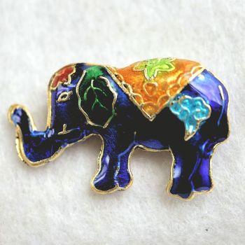 1 Handmade Cloisonne Elephant Dark Blue Bead
