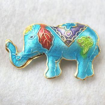 1 Handmade Cloisonne Elephant Brown Cyan Bead