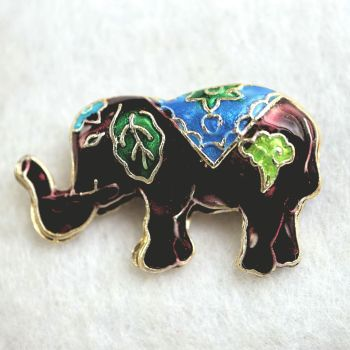 1 Handmade Cloisonne Elephant Brown Bead