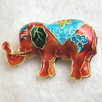 1 Handmade Cloisonne Elephant Orange Bead