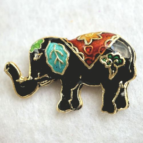 1 Handmade Cloisonne Elephant Black Bead
