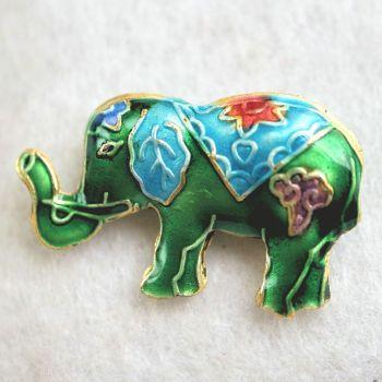 1 Handmade Cloisonne Elephant Green Bead