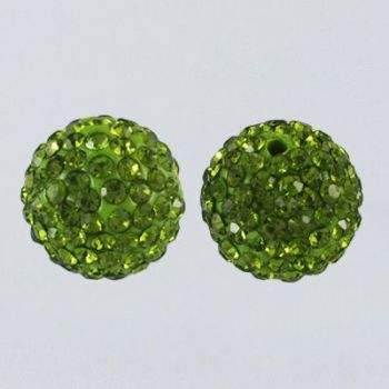 1 Pave Disco Ball Beads, Polymer Clay Rhinestone Beads, Round, Olivine, 8mm, Hole: 1mm