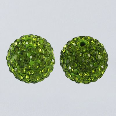 1 Pave Disco Ball Beads, Polymer Clay Rhinestone Beads, Round, Olivine, 8mm