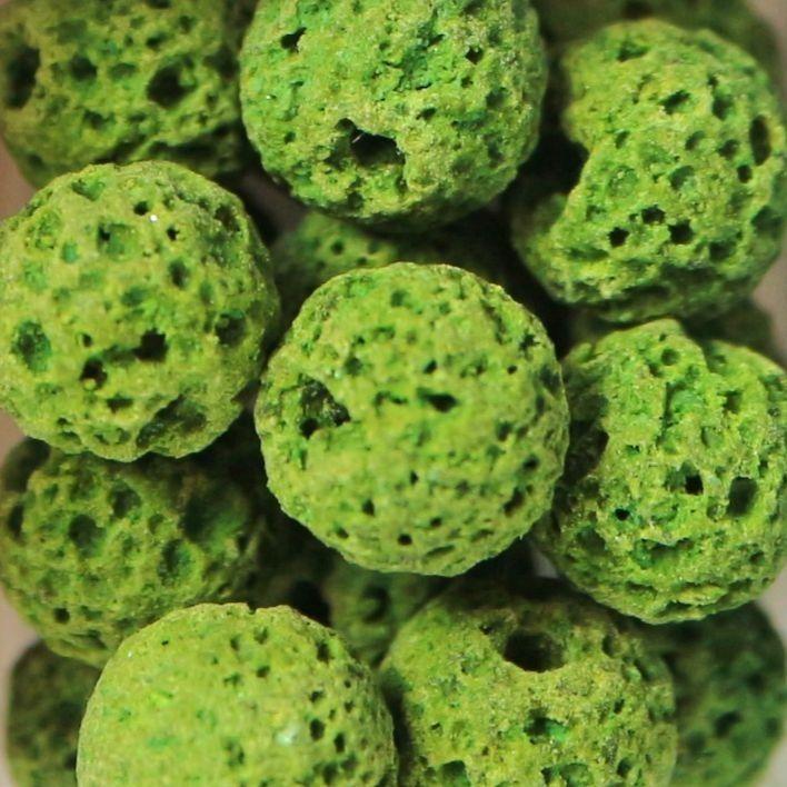 1 Natural Lava Round Bead Green