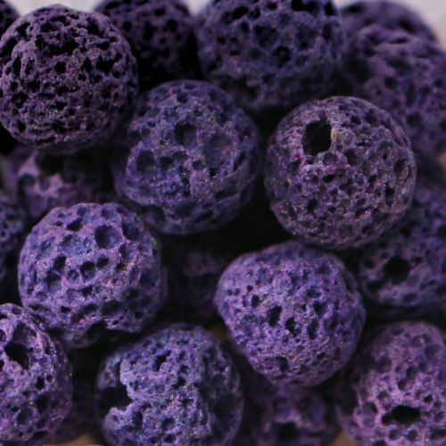 1 Natural Lava Round Bead Purple