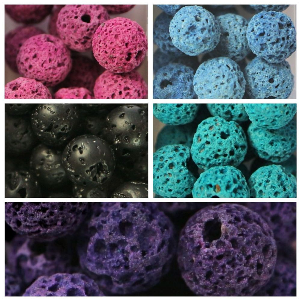 100 Natural Lava Beads Assorted Colours