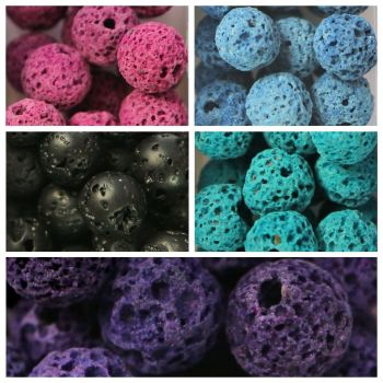 100 Lava Beads Assorted Colours