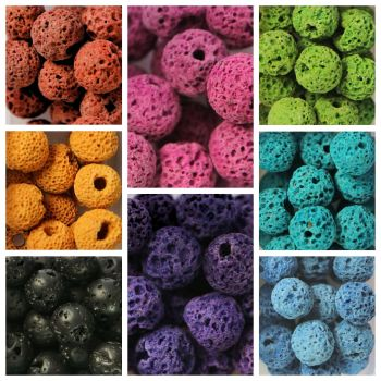 140 Lava Beads Assorted Colours Boxed