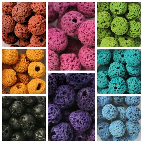 Approx 140 Lava Beads Assorted Colours Boxed