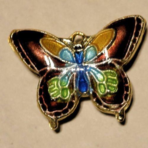1 Cloisonne Pendant Butterfly Orange