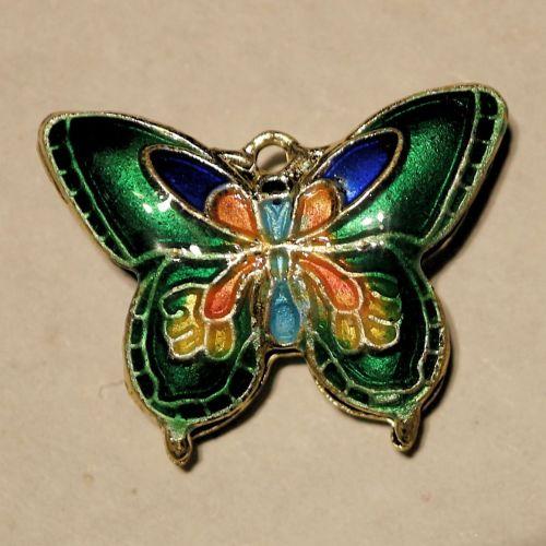 1 Cloisonne Pendant Butterfly Green