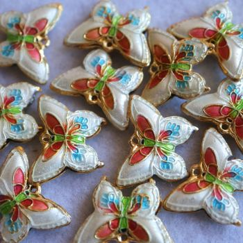 1 Cloisonne Pendant Butterfly White